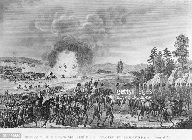 The retreating French army following defeat at Leipzig, October 19 engraving, Napoleonic wars, Germany, 19th century.