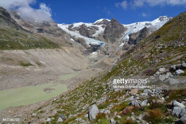 the retreating front of the lys glacier, italian side of monte rosa - retreating ストックフォトと画像