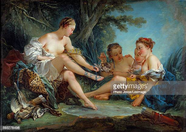 The return of hunting of Diane Painting by Francois Boucher 1745 094 x 131 m Cognacq Jay Museum Paris