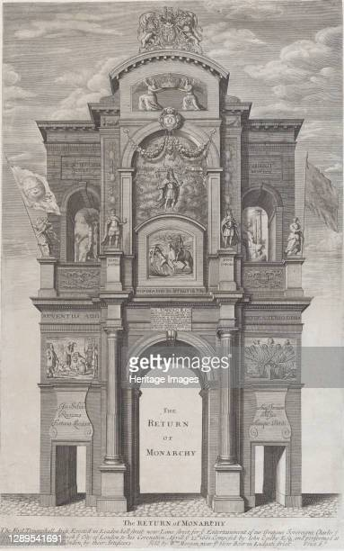 The Return of Monarchy; the first triumphal arch erected for Charles II in his passage through the city of London for his coronation, April 22 1662....