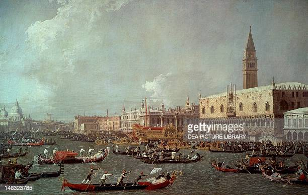 The return of the Bucentaur to the pier on Ascension Day ca 1760 by Giovanni Antonio Canal known as Canaletto oil on canvas 102x58 cm