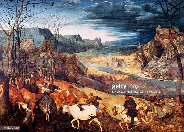 The return of the herd by Pieter Bruegel the Elder oil on canvas 117x159 cm Vienna Kunsthistorisches Museum