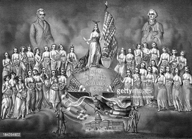 The Reunion of the Home of the Brave and the Free an illustration showing portraits of President George Washington and President Andrew Jackson...