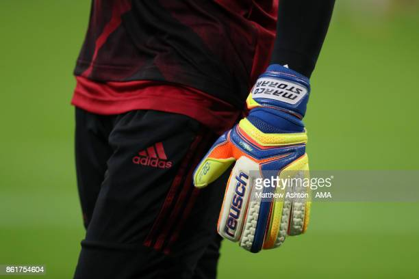 The Reusch gloves of goalkeeper Marco Storari of AC Milan prior to the Serie A match between FC Internazionale and AC Milan at Stadio Giuseppe Meazza...