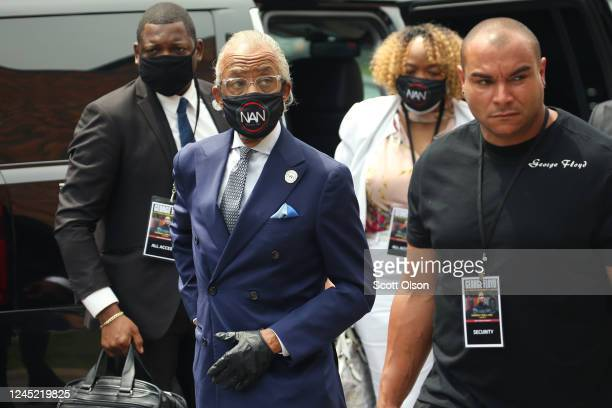 The Rev. Al Sharpton arrives with family members of George Floyd at Floyd's memorial service at North Central University on June 4, 2020 in...