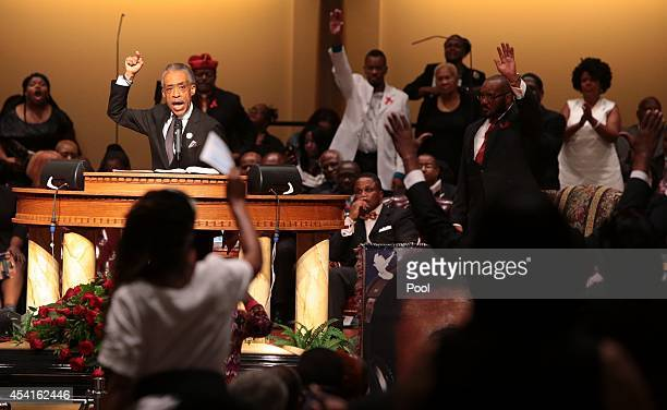 The Rev Al Sharpton delivers the eulogy during funeral services for Michael Brown at Friendly Temple Missionary Baptist Church on August 25 2014 in...