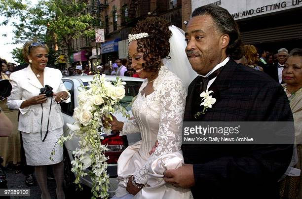 The Rev Al Sharpton escorts his wife Kathy Jordan Sharpton outside the Canaan Baptist Church in Harlem where they renewed their marriage vows...