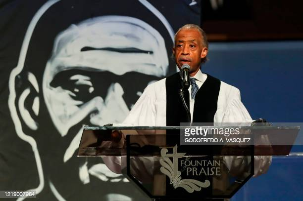 The Rev Al Sharpton speaks during the funeral for George Floyd on June 9 at The Fountain of Praise church in Houston George Floyd will be laid to...