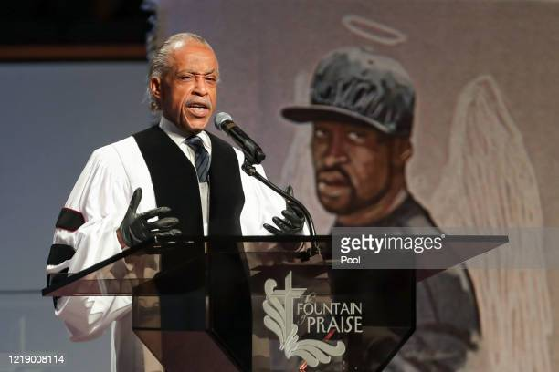 The Rev Al Sharpton speaks during the private funeral for George Floyd at The Fountain of Praise church on June 9 2020 in Houston Texas Floyd died...