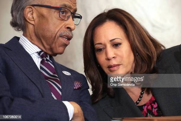 The Rev Al Sharpton talks with Sen Kamala Harris during a postmidterm election meeting of Sharpton's National Action Network in the Kennedy Caucus...