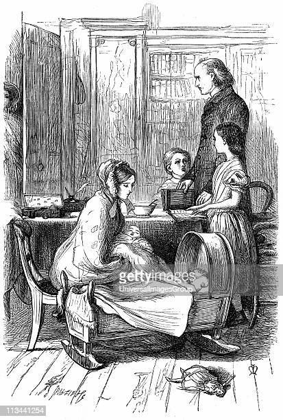 The Rev and Mrs Crawley and their young family which as an impoverished parson he had difficulty in supporting Illustration by John Everett Millais...