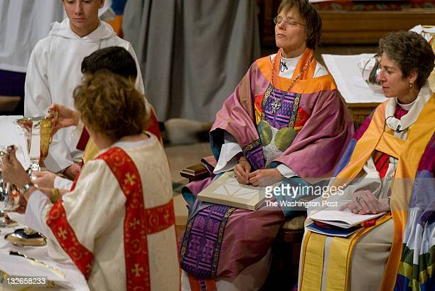 The Rev Dr Bishop Mariann Edgar Budde shown with Rev Katharine Jefferts Schori Presiding Bishop of the Episcopal Church takes a moment during her...