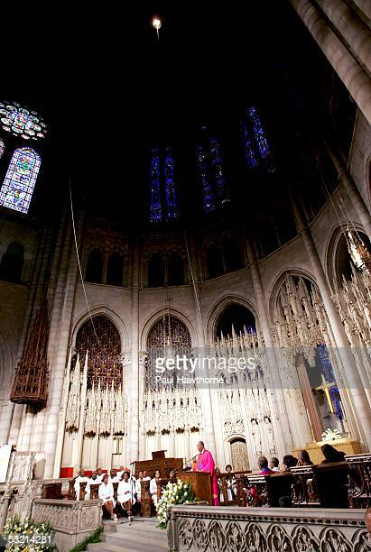 The Rev Dr James A Forbes Jr conducts the funeral of Luther Vandross at Riverside Church July 8 2005 in New York City