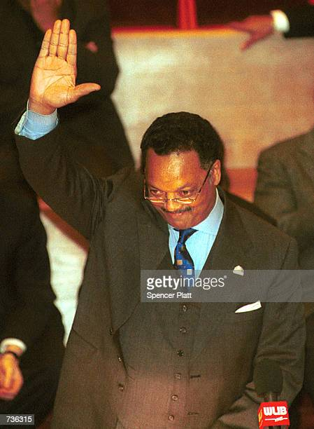 The Rev Jesse Jackson pauses before speaking during a prayer vigil for himself and his family at the Caanan Baptist Church January 23 2001 in New...