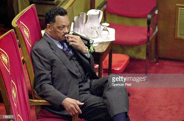 The Rev Jesse Jackson sits during a prayer vigil for Jackson and his family at the Caanan Baptist Church January 23 2001 in New York's Harlem...