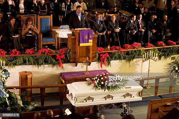 The Rev Jesse Jackson speaking at the funeral services for Stanley 'Tookie' Williams at Bethel AME Church in South Central Los Angeles Approx 2000...
