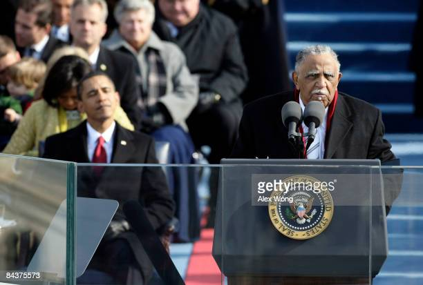 The Rev Joseph Lowery gives the benediction during the inauguration of Barack Obama as the 44th President of the United States of America on the West...