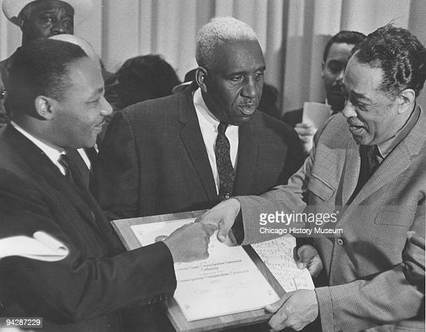 The Rev. Martin Luther King and jazz great Duke Ellington at the American Emancipation Centennial held at McCormick Place, Chicago, 1963. The man...