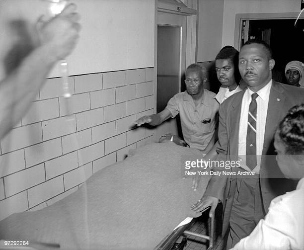 The Rev Martin Luther King Jr is rushed to Harlem Hospital after he was stabbed in the chest with a letter opener