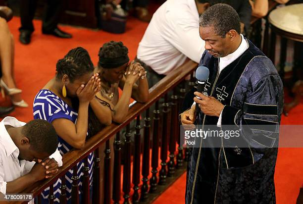 The Rev Norvel Goff speaks at the first church service four days after a mass shooting that claimed the lives of nine people at the historic Emanuel...