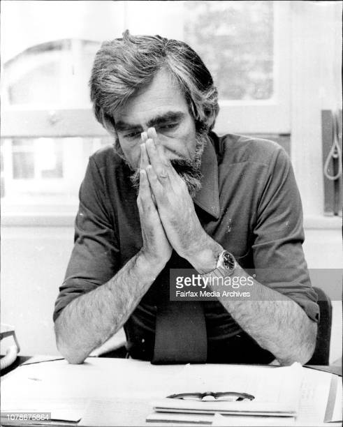 The Rev Warren Arkell State Director of Austcare in his office today October 1 1974