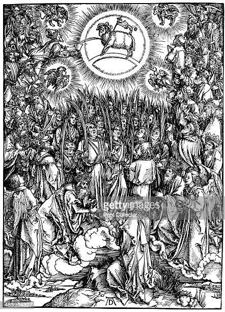 'The Revelation of St John ' c1498 The Adoration of the Lamb and the Hymn of the Chosen Making a square around the circle of the Lamb of God Jesus...