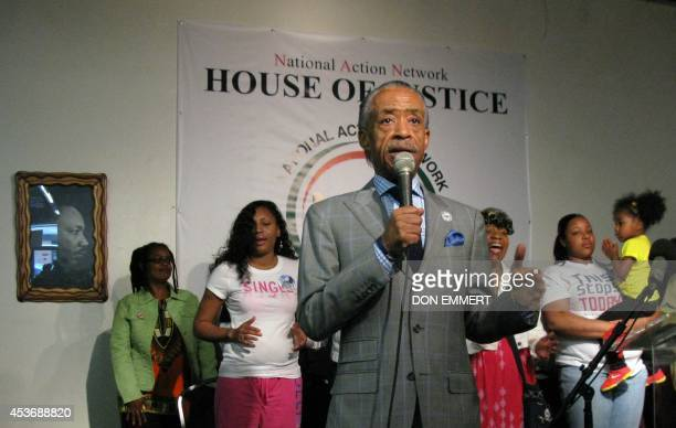 The Reverand Al Sharpton addresses a group gathered at the House of Justice on August 16 2014 in New York Sharpton addressed what he called a smear...