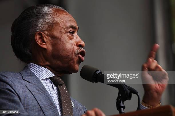 The Reverend Al Sharpton speaks at a rally in Brooklyn to call for justice for Eric Garner one year after he died in an apparent police chokehold on...