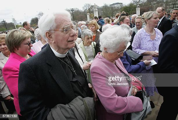 The Reverend and Mrs Amos Cresswell wait in queue before attending the Queen's 80th Birthday Lunch on April 19, 2006 at Buckingham Palace in London,...