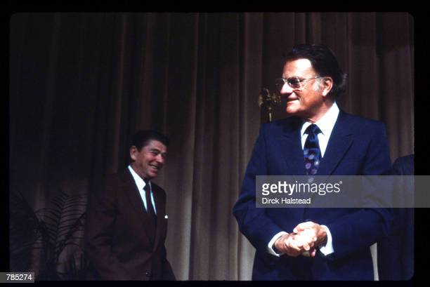 The Reverend Billy Graham appears at an event with President Ronald Reagan February 28 1983 in Washington DC Graham was born November 7 1918 in...