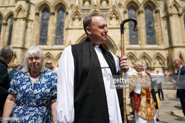 The Reverend Canon Sam Corley, currently Rector of Leeds meets friends after he was consecrated as the Bishop of Stockport at York Minster on July...