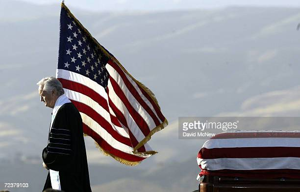 The Reverend Doctor Michael H Wenning walks off the stage after the invocation for former President Ronald Reagan on June 11 2004 in Simi Valley...
