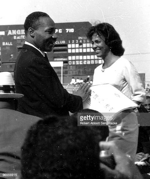 The Reverend Dr Martin Luther King Jr greets actress Dorothy Dandridge during his first visit to Los Angeles May 1963 He addressed a crowd of more...