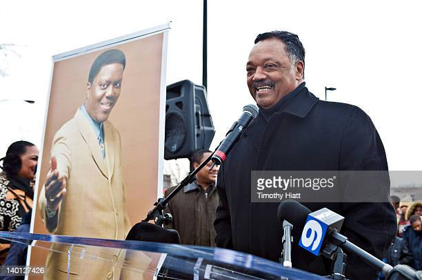 The Reverend Jesse Jackson attends a ceremony honoring the late comedian Bernie Mac with a street sign on February 28 2012 in Chicago Illinois