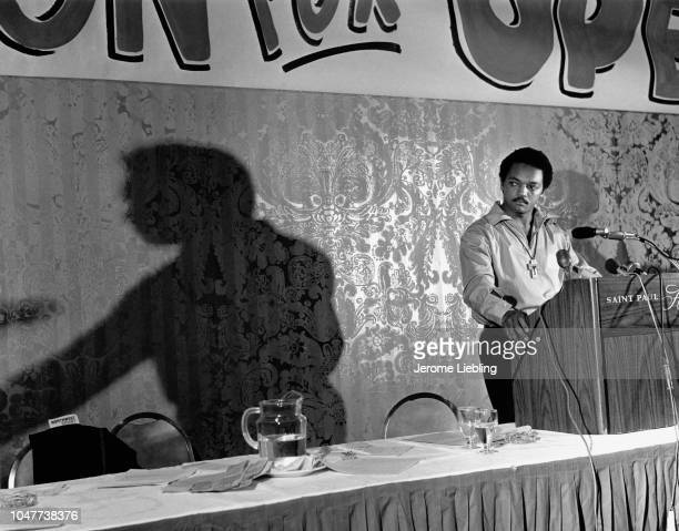 The Reverend Jesse Jackson speaking at the Minnesota Democratic Farm Labor Party state convention in St Paul Minnesota 1968
