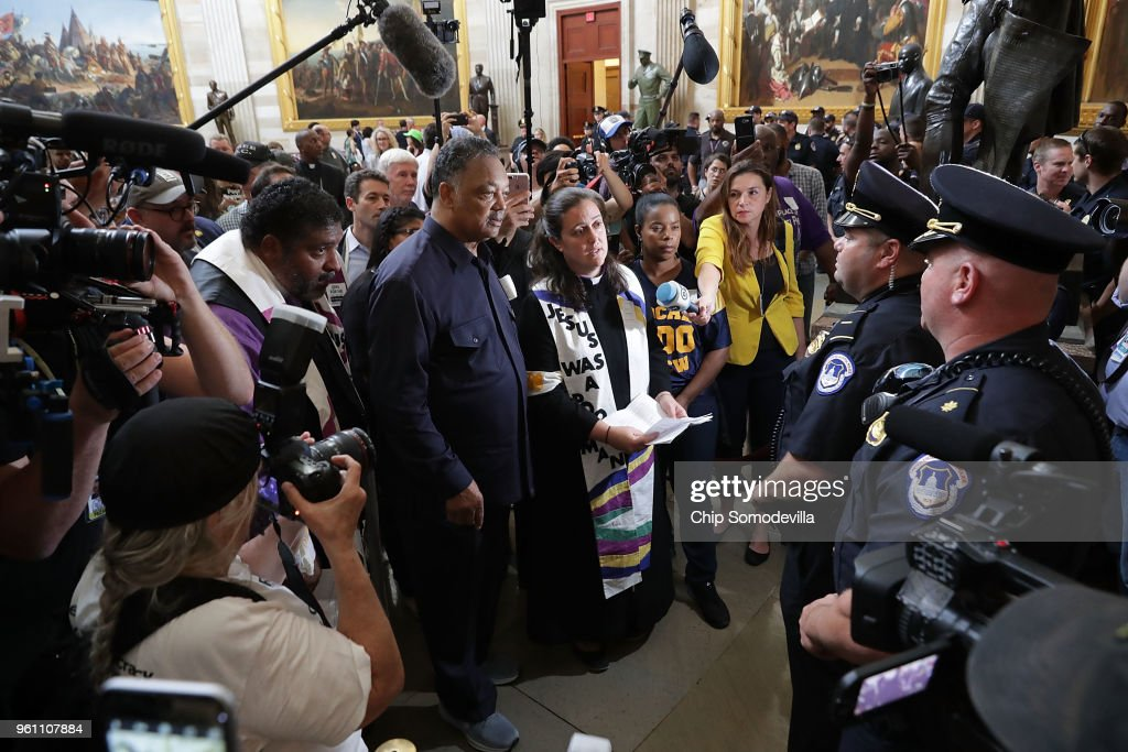 "Reverend Jesse Jackson And William Barber Protest Within U.S. Capitol During ""Poor People's Campaign"" Day Of Action"