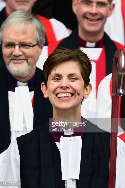 The Reverend Libby Lane smiles as she stands outside York Minster after she was consecrated as the eighth Bishop of Stockport on January 26 2015 in...