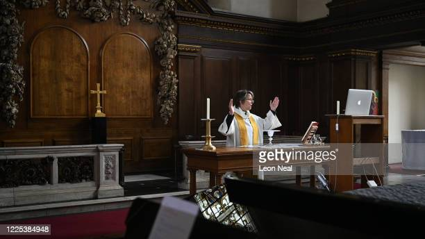 The reverend Lucy Winkett, rector of St James's Piccadilly, delivers a service on Rogation Sunday via webcam to the church's congregation while the...
