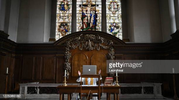 The reverend Lucy Winkett rector of St James's Piccadilly delivers a service on Rogation Sunday via webcam to the church's congregation while the...