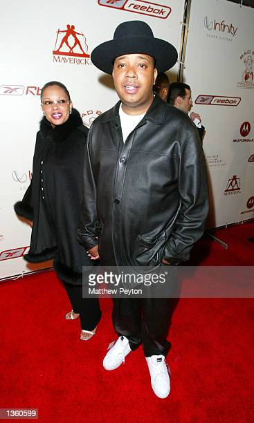 The reverend Run of Run DMC and wife arrive at Sean P Diddy Combs and Guy Oseary's 'The Greatest Party Of All Time' presented by RBK at Cipriani...
