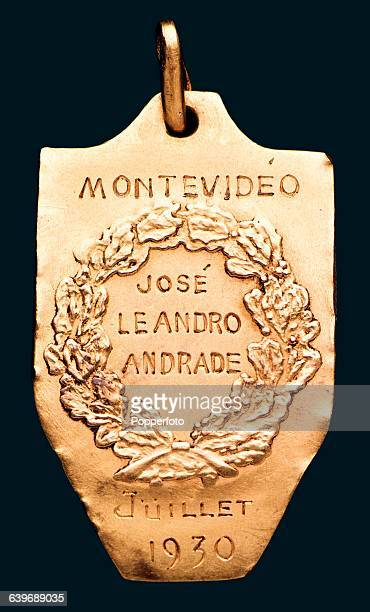 The reverse of the gold winner's medal for the inaugural FIFA World Cup awarded to Uruguay's Jose Leandro Andrade after their 42 win over Argentina...