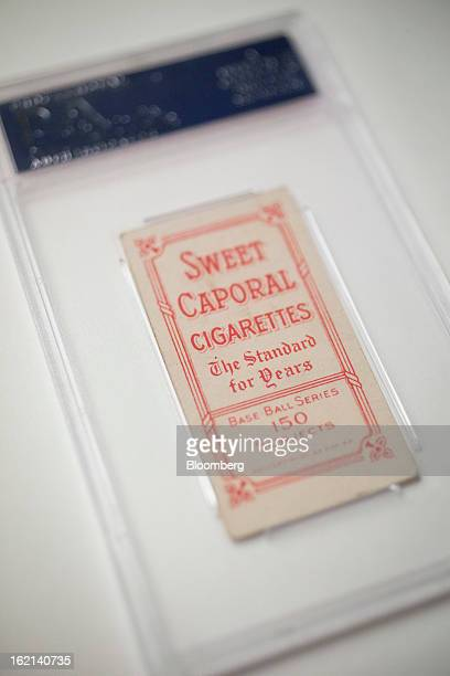 The reverse side of a 1909 baseball card of Pittsburgh Pirates shortstop Honus Wagner is displayed for a photograph in New York US on Tuesday Feb 19...