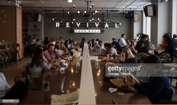 The Revival Food Hall seen June 15 bustles with Loop diners The food hall which debuted in August is open 7 am to 7 pm weekdays and features...