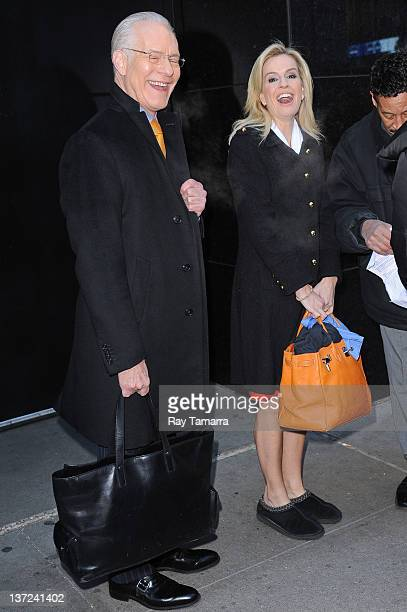 The Revolution hosts Tim Gunn and Dr Jennifer Ashton leave the Good Morning America taping at the ABC Times Square Studios on January 16 2012 in New...