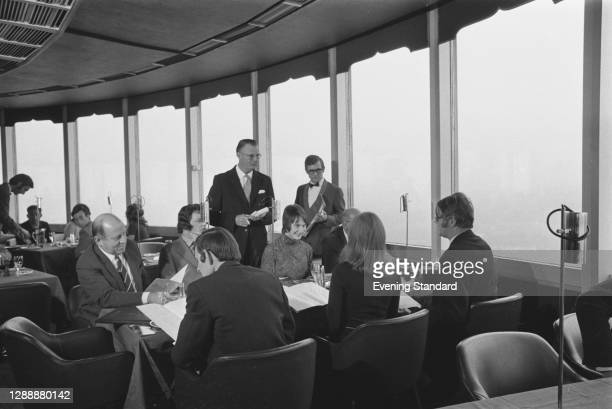 The revolving restaurant re-opens at the Post Office Tower in London, UK, November 1971.