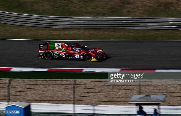 The RGR Sport by Morand driven by Ricardo Gonzales of Mexico Filipe Albuquerque of Portugal and Bruno Senna of Brazil is seen on the track during 3rd...
