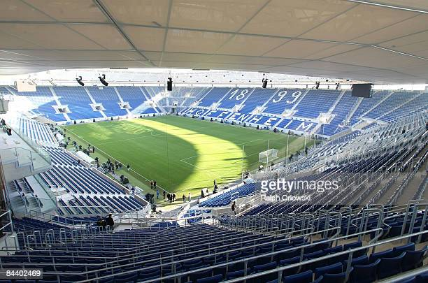 The RheinNeckarArena of Bundesliga team 1899 Hoffenheim stands in the sunlight on January 22 2009 in Sinsheim Germany