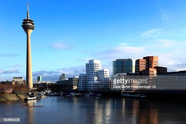 The Rheinturm Television Tower Düsseldorf City