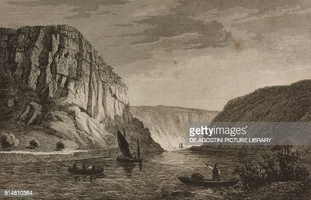 The Rhine and the LurleyBerg near Sankt Goar Germany engraving by Lemaitre and Cholet from Allemagne by Philippe Le Bas L'Univers pittoresque Europe...