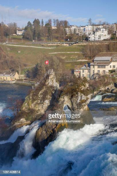 The Rhine Falls on January 03 2019 in Rhine Falls Switzerland The Rhine Falls is the largest waterfall in Switzerland and Europe They are 150 metres...